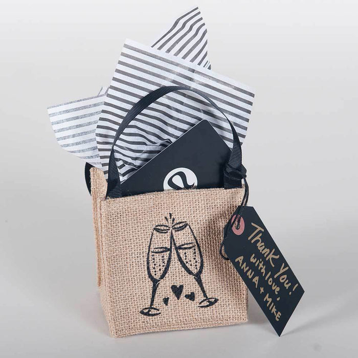 Champagne Mini Jute Itsy Bitsy Gift Bags, Pack of 10 (Price is per Bag) ITSYBITSYJUTE rfp-totes