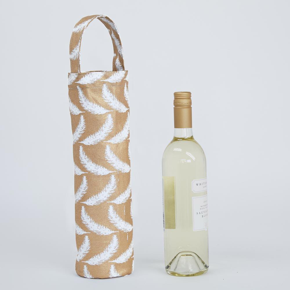 Feathers Gold Wine Gift Bag WINETOTE rfp-totes