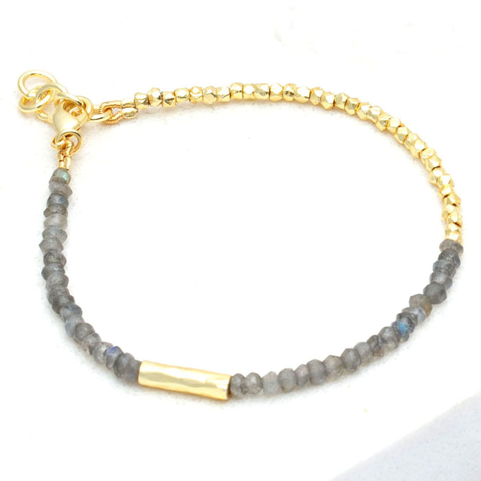 Color Block Labradorite Hand Cut Gold Bead Bracelet - Gold Plated
