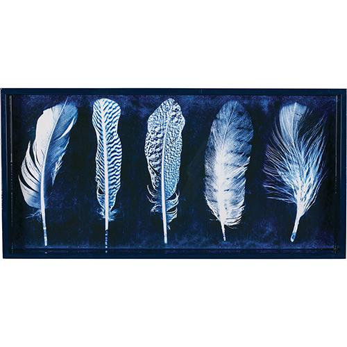 "Indigo Feathers 10"" x 20"" Art Tray TRAY-RECTANGULA rfp-home"