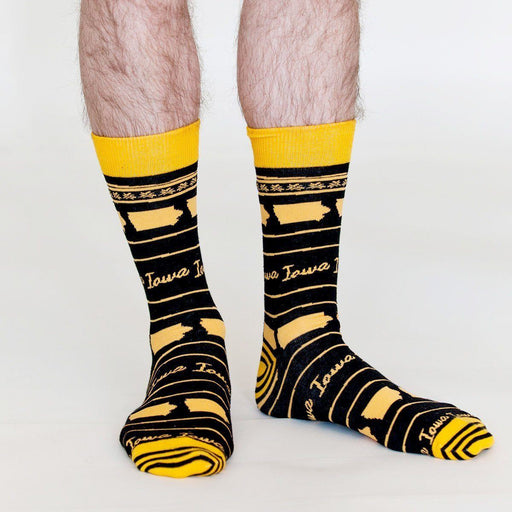 Iowa College Black/Gold Pair of Crew Length Men's Socks SOCKS rfp-clothing