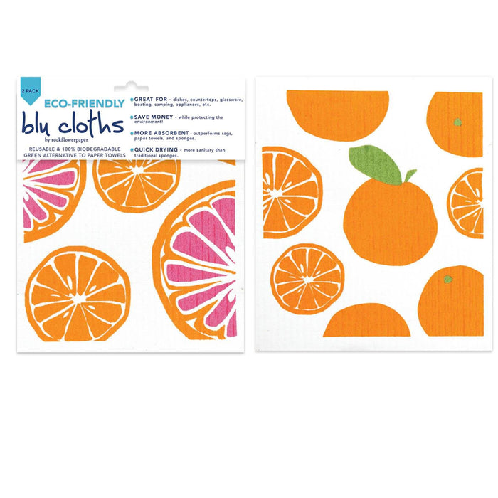 Oranges Eco-Friendly blu Cloths - Set of 2 BLUCLOTH rfp-blu