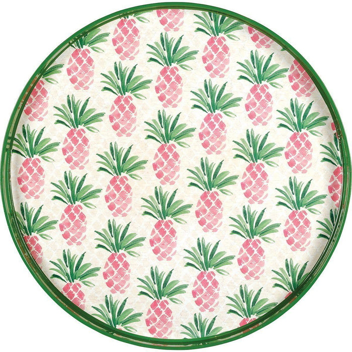 Pink Pineapples 18 inch Round Lacquer Serving Tray TRAY-ROUND rfp-home