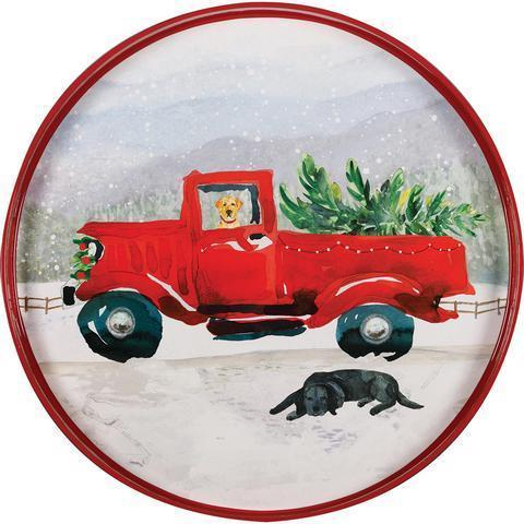 Red Truck 18 inch Round Serving Tray TRAY-ROUND rfp-home