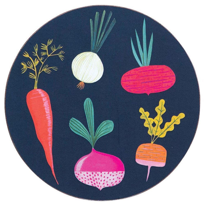 Root Veggies Blue Round Art Coasters - Set Of Four HARDCOASTERS rfp-home