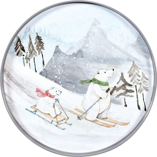 Ski Bears 18 inch Round Lacquer Serving Tray TRAY-ROUND rfp-home
