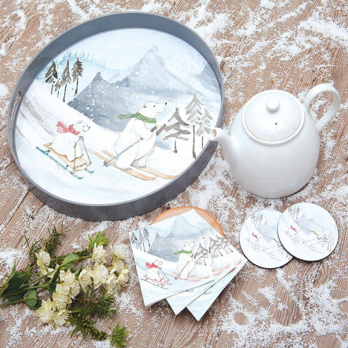 Ski Bears Round Art Coasters - Set of Four HARDCOASTERS-RO rfp-home