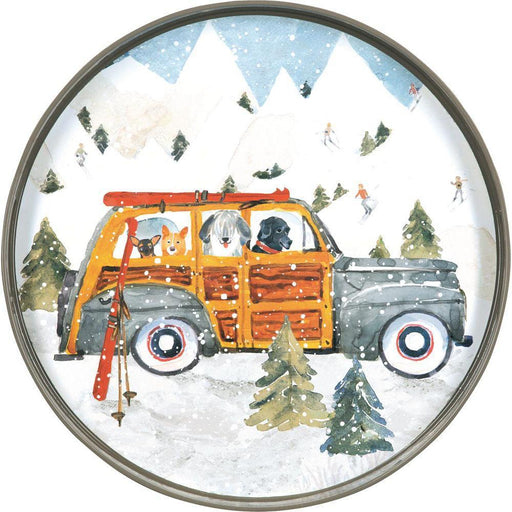 Ski Day Neutral 18 Inch Round Lacquer Serving Tray TRAY-ROUND rfp-home