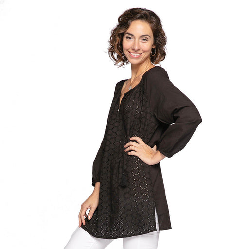 Solid Black Eyelet Peasant Top BLOUSE-PEASANT rfp-clothing