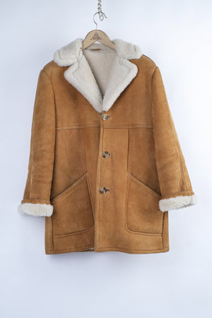 Camel Brown Chunky Lambsfur Shearling Jacket, size L