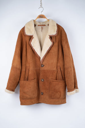 Supple Suede Shearling Coat in Camel Brown with Notched Lapels, Men's L