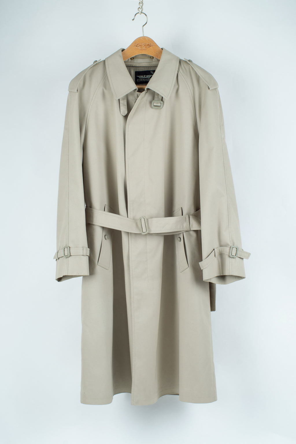 Vintage Gabardine Trench Coat with Wool Zip-Out Liner, USA 44S