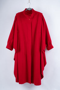 Vintage 50's Red Brushed Wool Batwing Cape Coat, One Size
