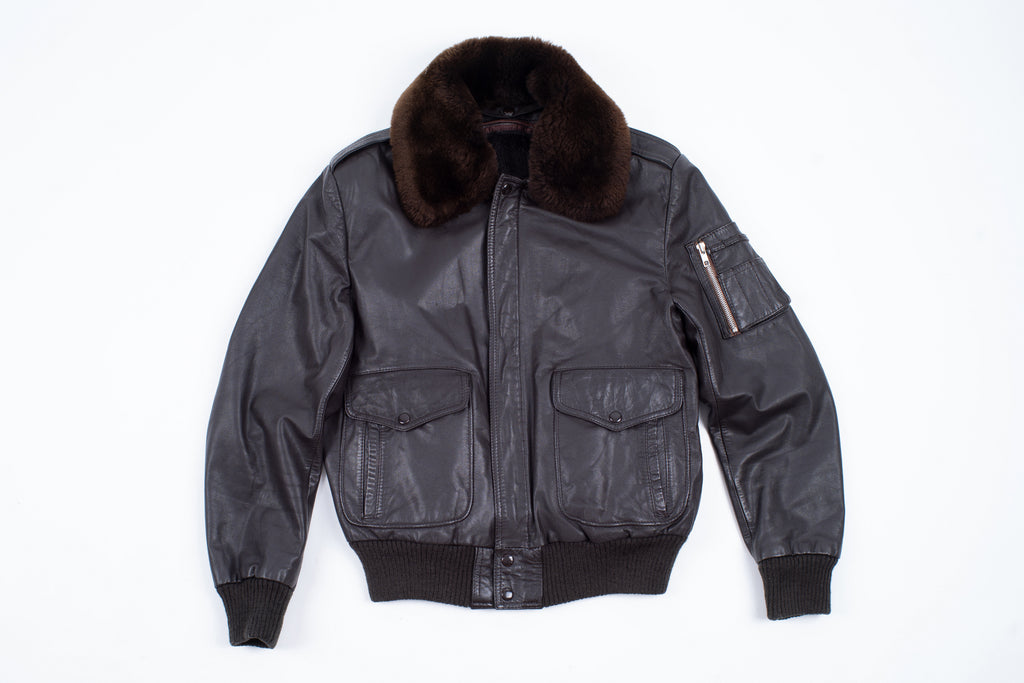 Aviator Type A2 Flight Leather Jacket with Detachable Sheepskin Collar, Size S