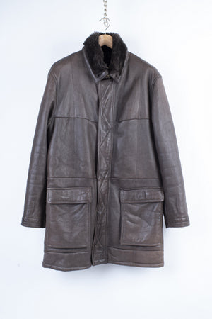 Dark Brown Men's Supple Shearling Leather Coat, Size L