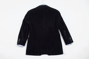 Hugo Boss Black Striped Velvet 2 Button Blazer, US 42R, EU 52