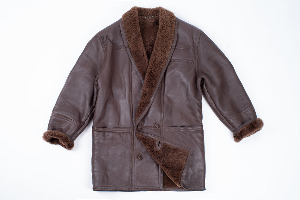 Men's Double Breasted Supple Shearling Coat With Shawl Collar, SIZE M