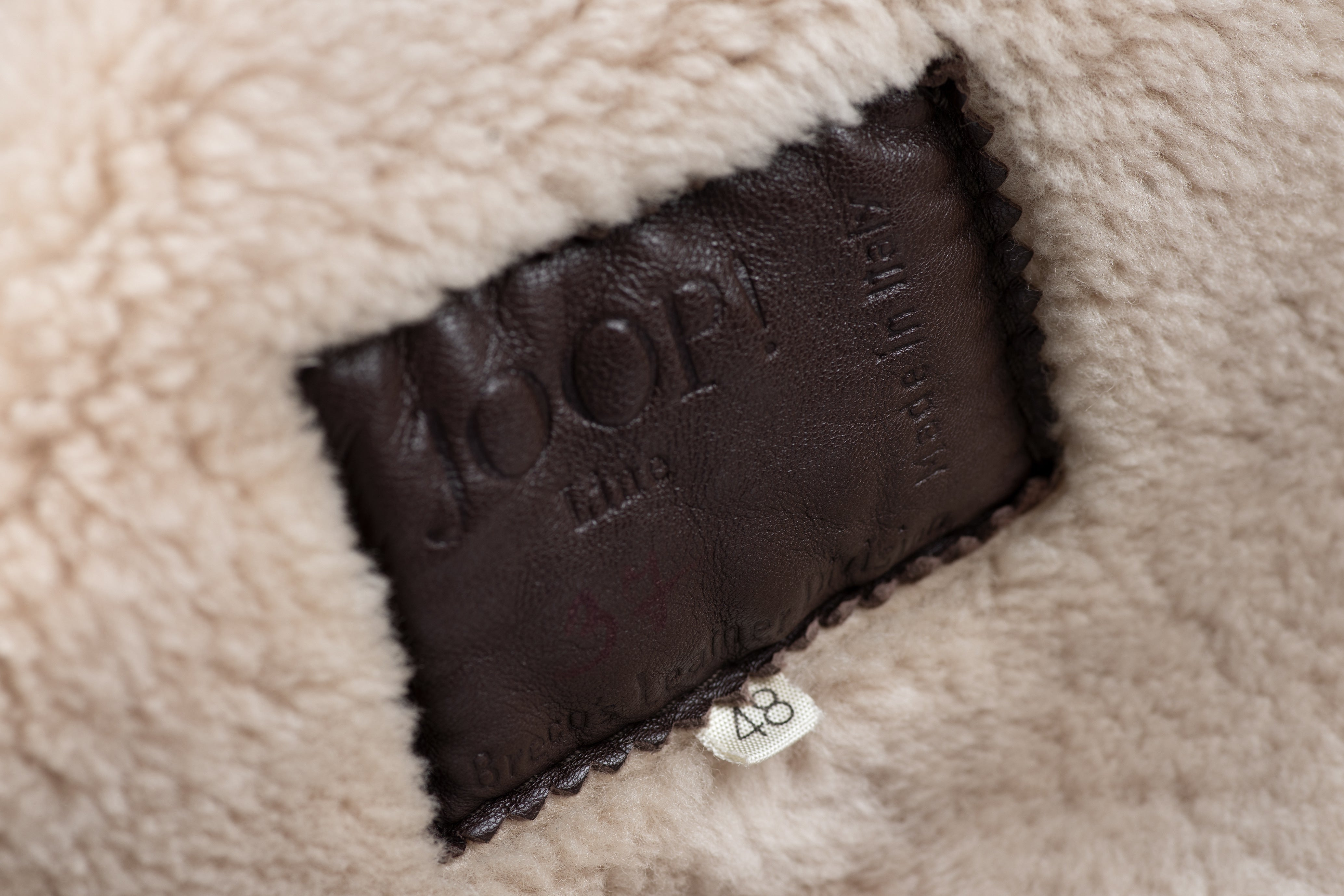 Joop Men's Brown Supple Leather Shearling Coat with Shawl Collar, L