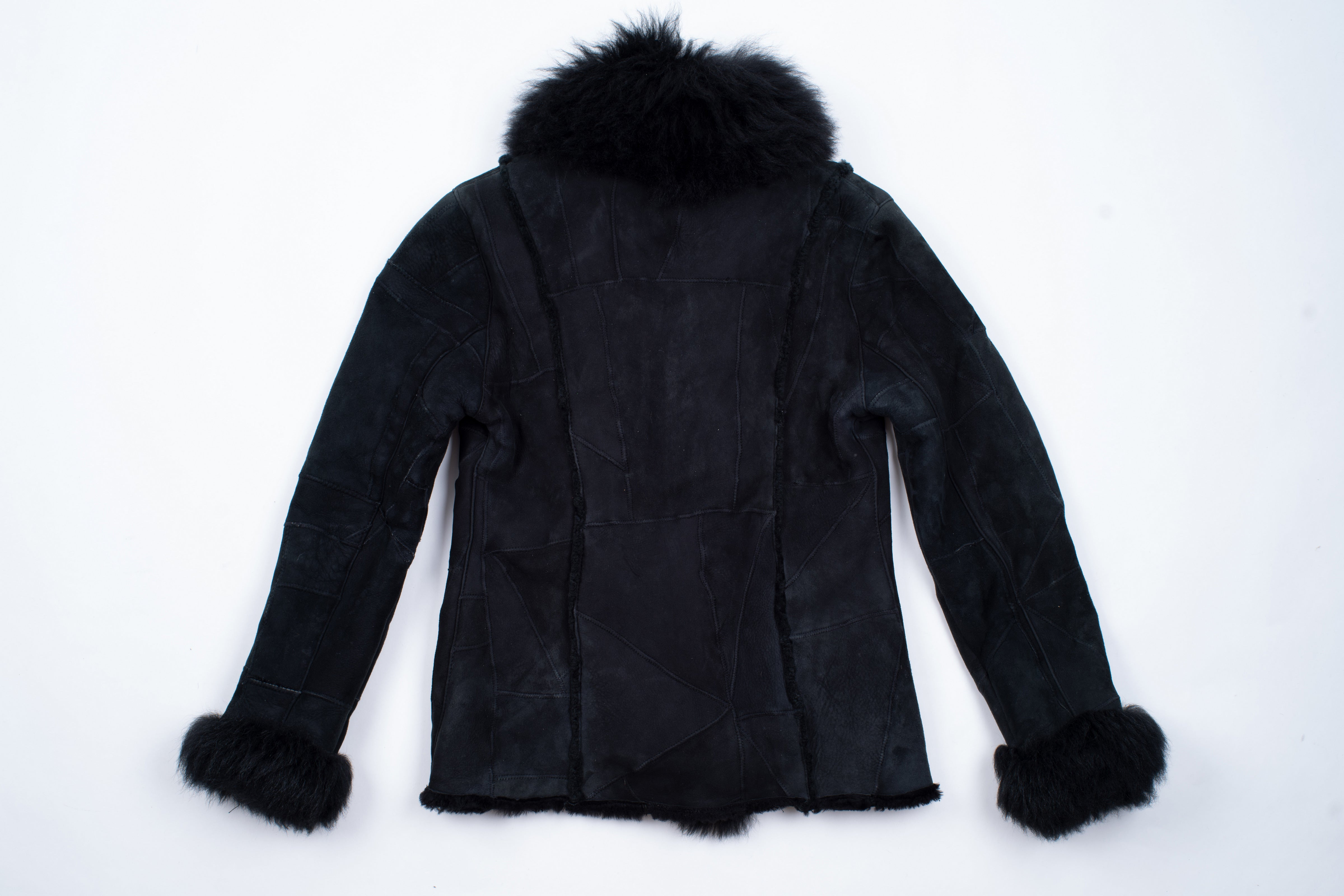 Woman's Black Patchwork Shearling Jacket With Shawl Fur Collar, M