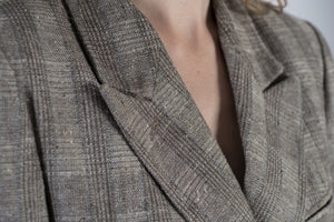 Vintage Hugo Boss Double Breasted Linen And Silk Blend Blazer, L
