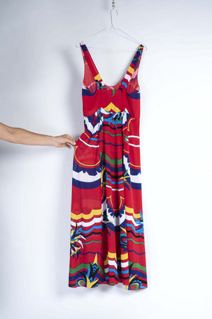 Stylish Summer Abstract Print Red Maxi Dress, Size S