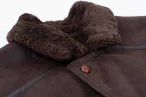 Christ Dark Brown Long Shearling Coat, Men's XL