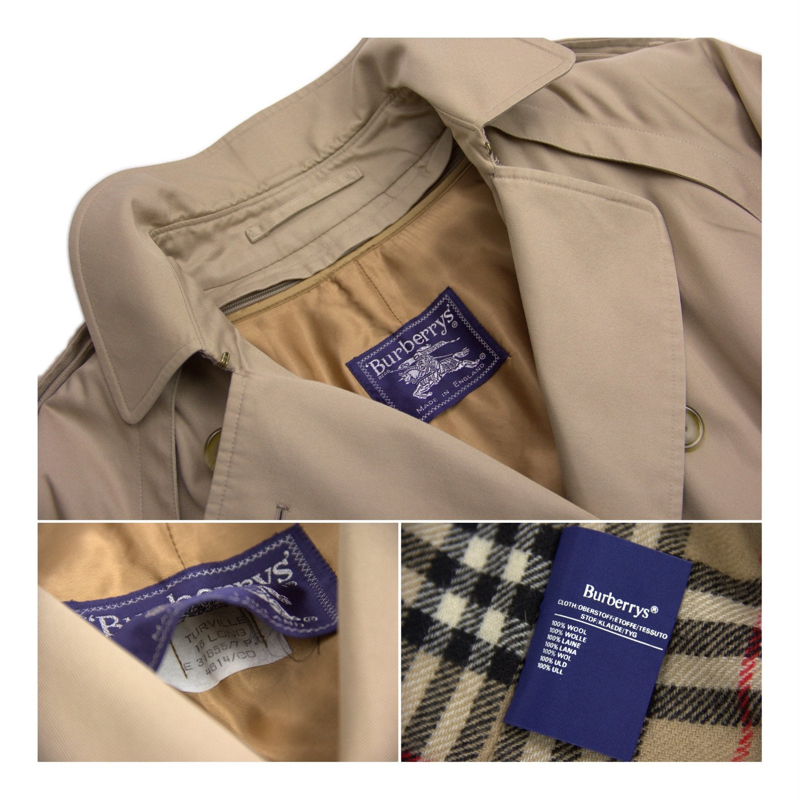 Burberry Vintage Tan Brown Trench Coat With Wool Liner Size XL - secondfirst