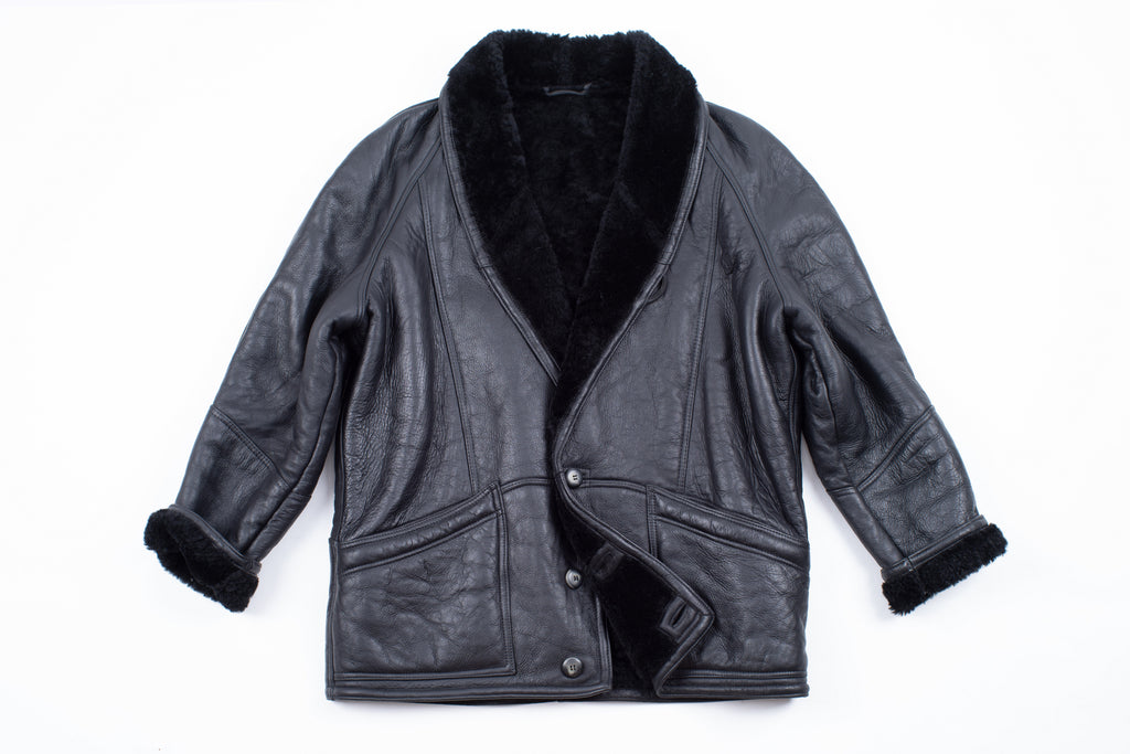 Man's Black Leather Shawl Collar Lambskin Shearling Jacket, SIZE XL