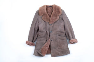 Men's Khaki Brown Shearling Coat With Mauve Lining, Size M