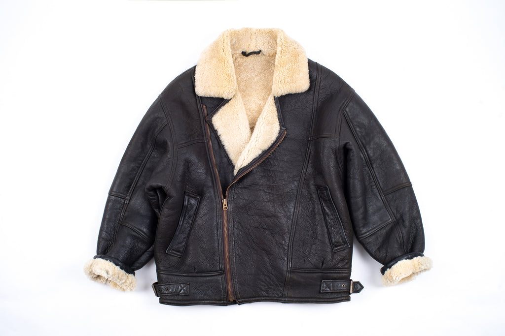 Men's Type B Brown Aviator Shearling Sheepskin Jacket, Size L