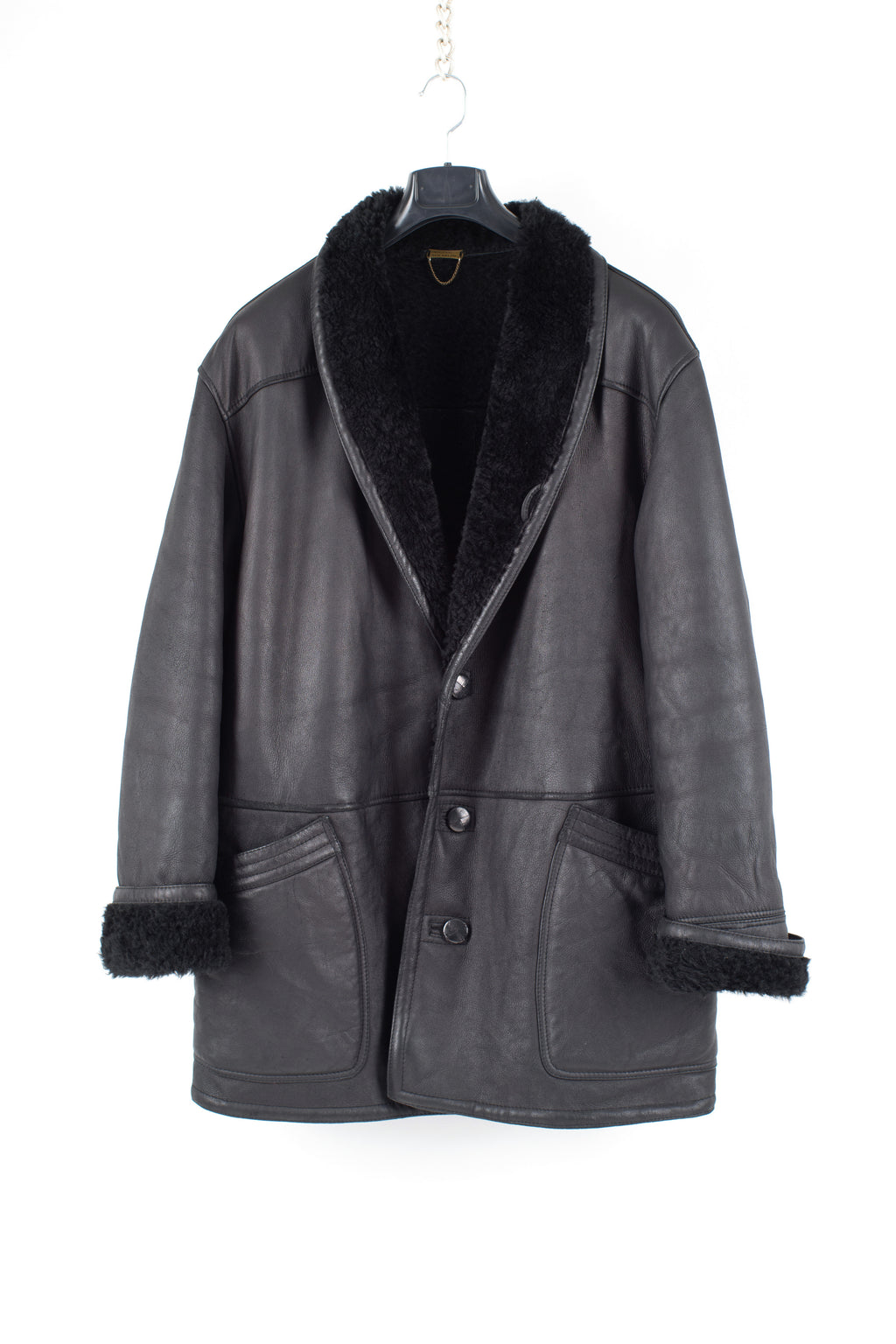 Men's Black Sheepskin Shearling Shawl Collar Coat, Men's XXL