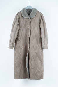 Women's Long Gray Elegant Shearling Coat with Puff Shoulders, Size L