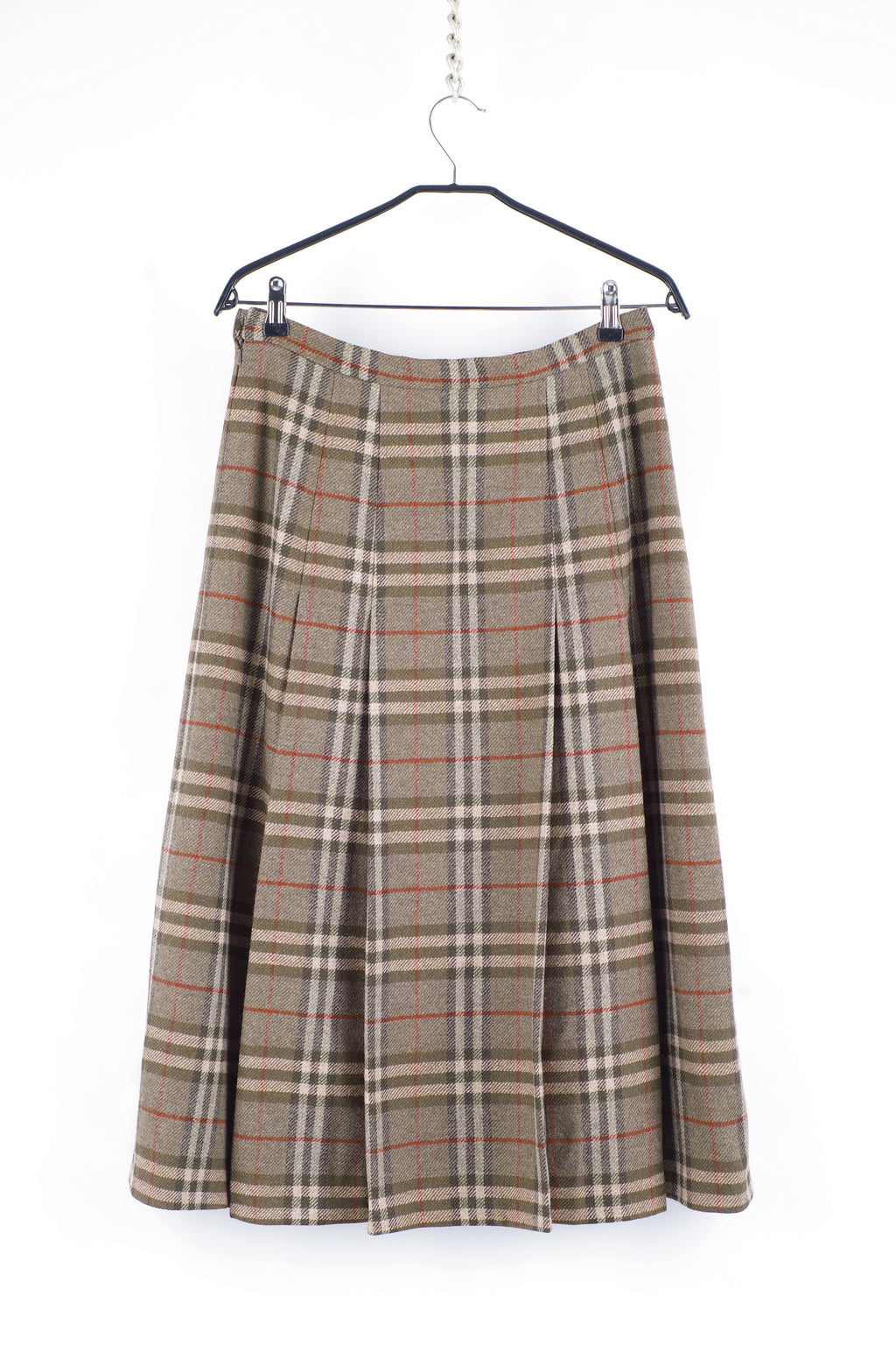 Burberry Vintage Wool Khaki Brown Plaid Pleated Midi Skirt, L