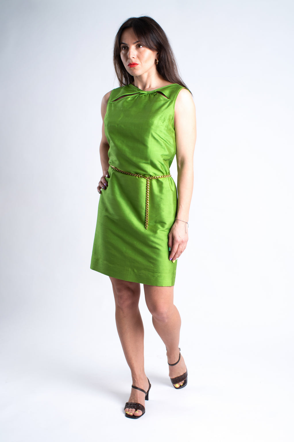 Moschino Cheap And Chic Green Silk Cocktail Dress, SIZE M