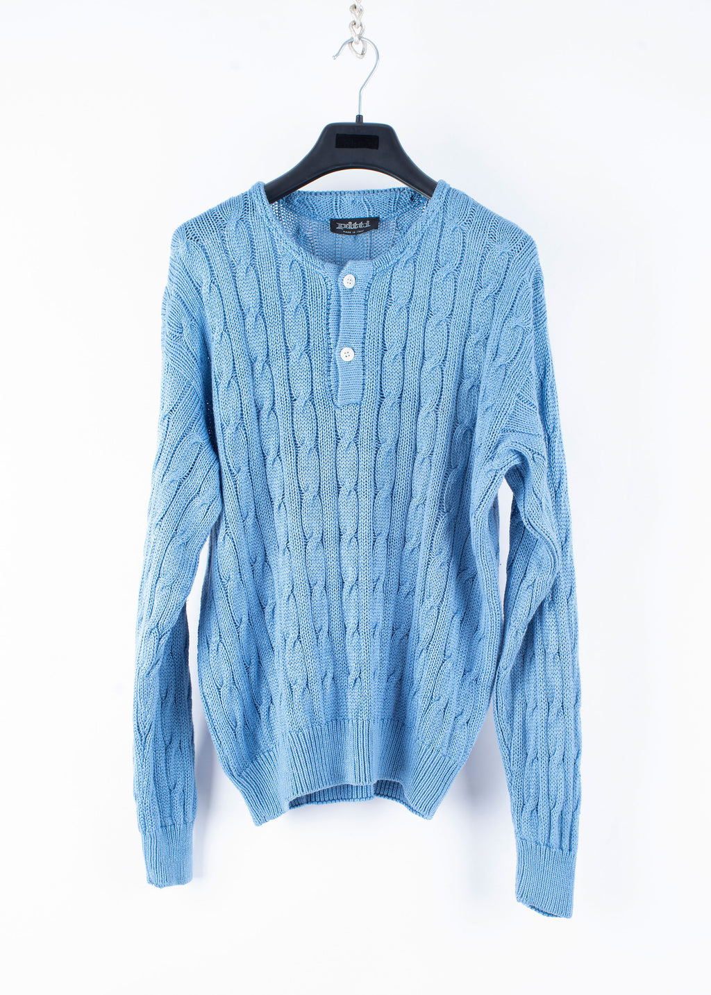 Vintage 100% Silk Men's Light Blue Cable Knit Jumper, L