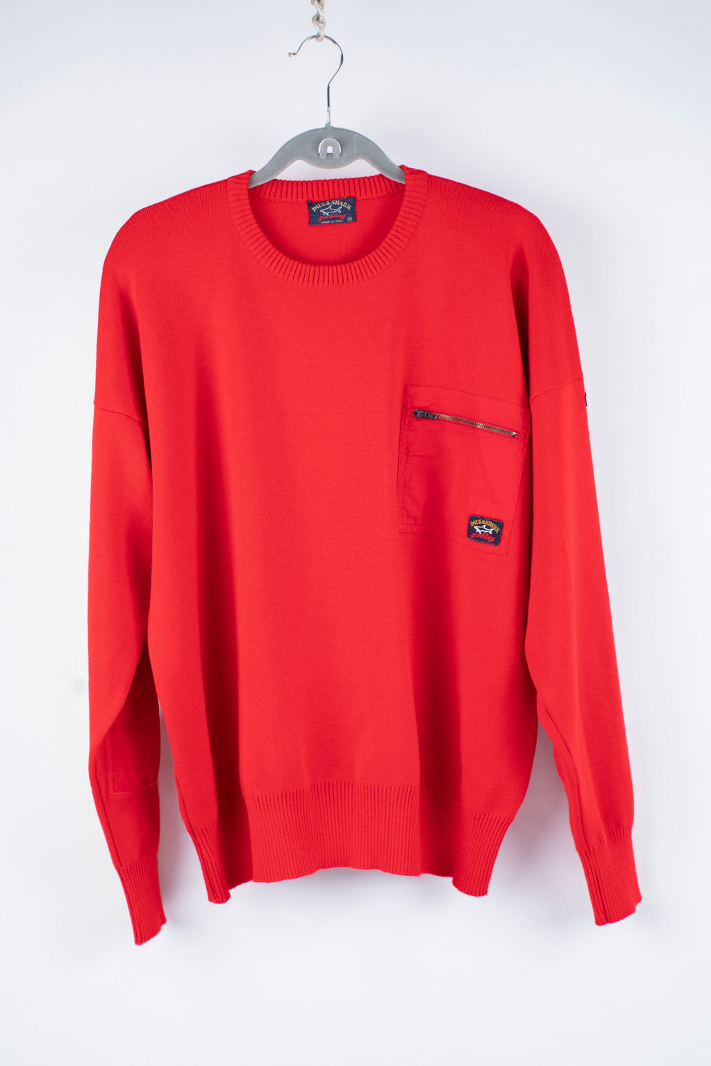 Paul & Shark Yachting Men's Red Wool Crew Neck Sweater, XL