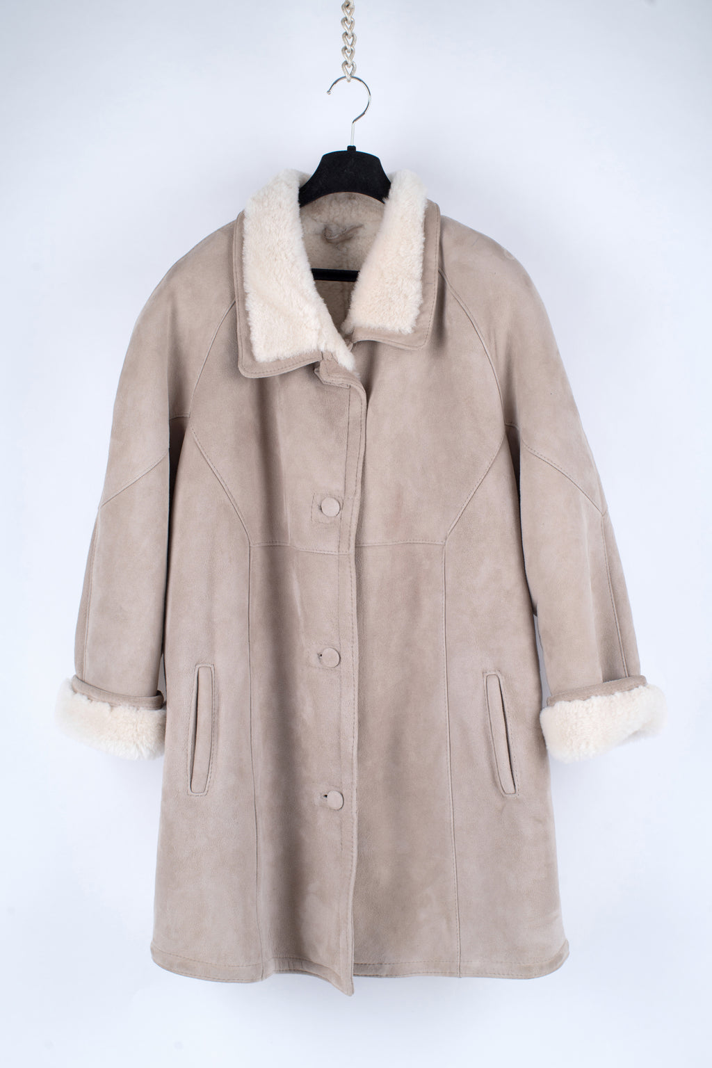 Women's Beige Supple Sheepskin Shearling Coat, 3XL