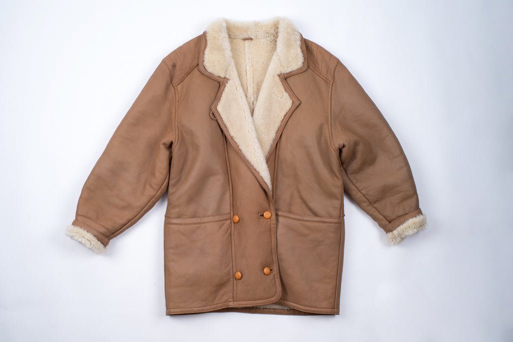 Light Brown Woman's Double Breasted Shearling Cocoon Coat, SIZE M
