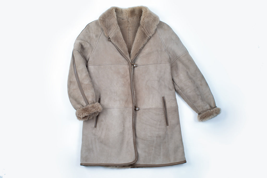 Women's Light Brown Sheepskin Shearling Coat, Size M
