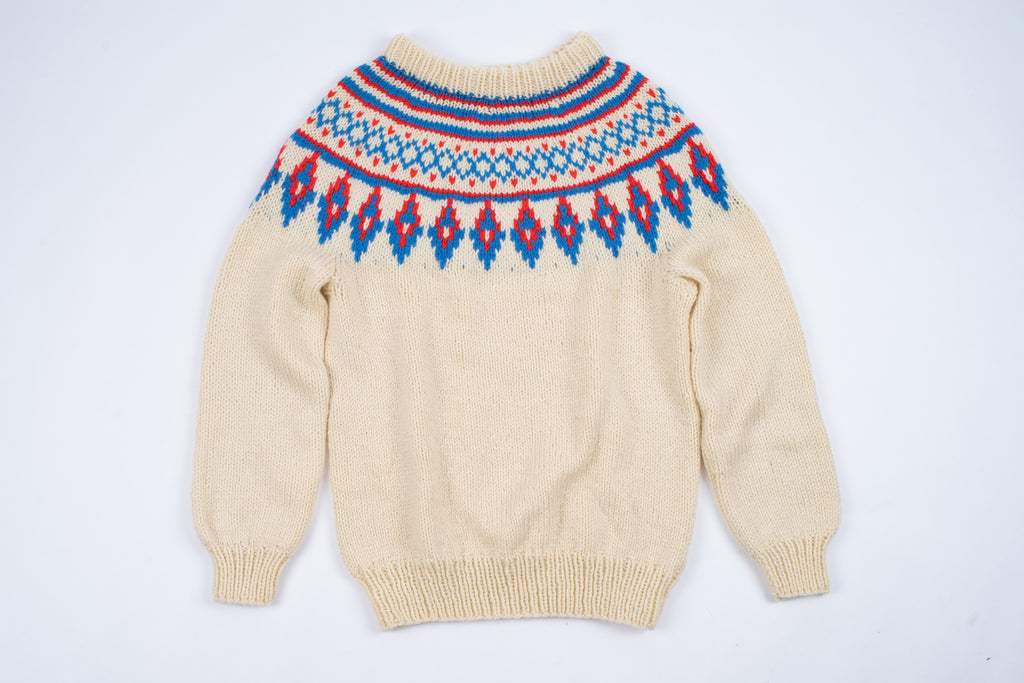 Icelandic Wool Hand Knitted Lopapeysa Sweater, Unisex S-L