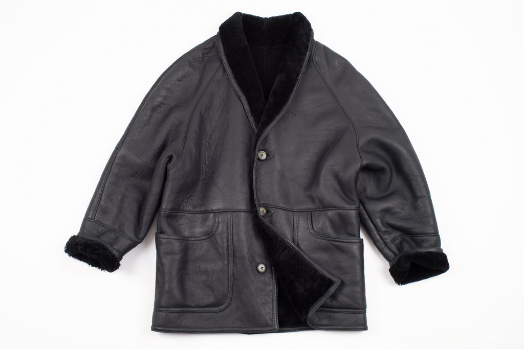Black Leather Soft Chunky Shawl Collar Lambskin Shearling Jacket, Men's XL