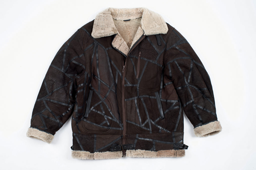 Men's Type B-3 Aviator Style Brown Patchwork Shearling Jacket, XXL