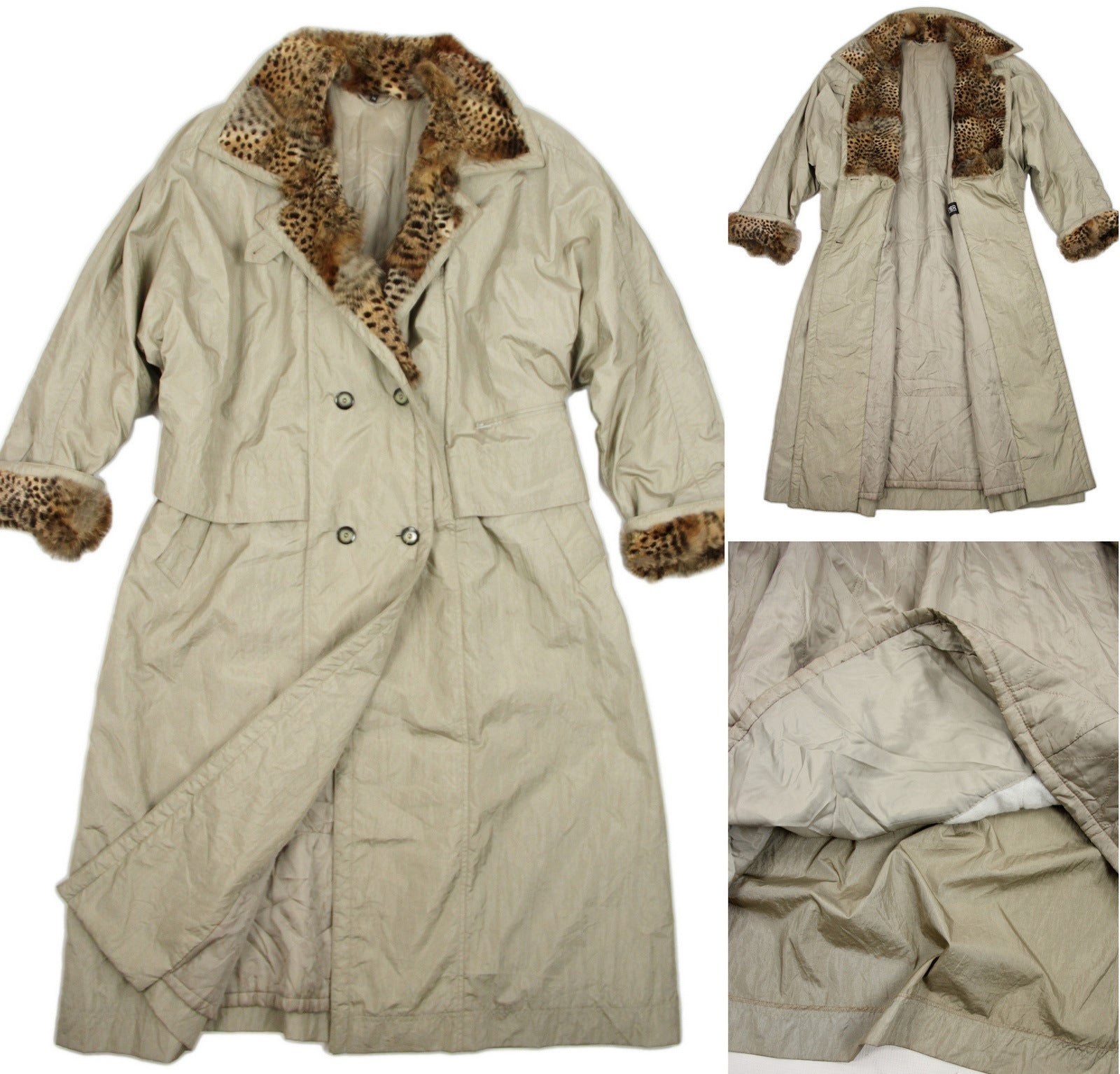 Vintage 80's Oversized Khaki Trench Coat With Animal Print Fur Details Size M