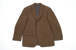 Harris Tweed Wool Gun Check  Brown 2 Button Blazer, US 40S, EU 25