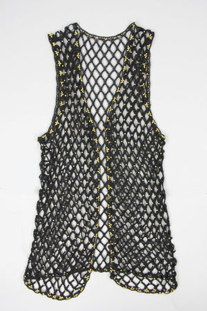Black Crochet Knit Fishnet Gold Beaded Vest