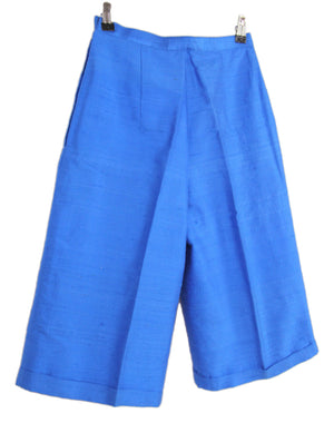 Women's Raw Silk Straight Leg Blue Bermuda Shorts, XS