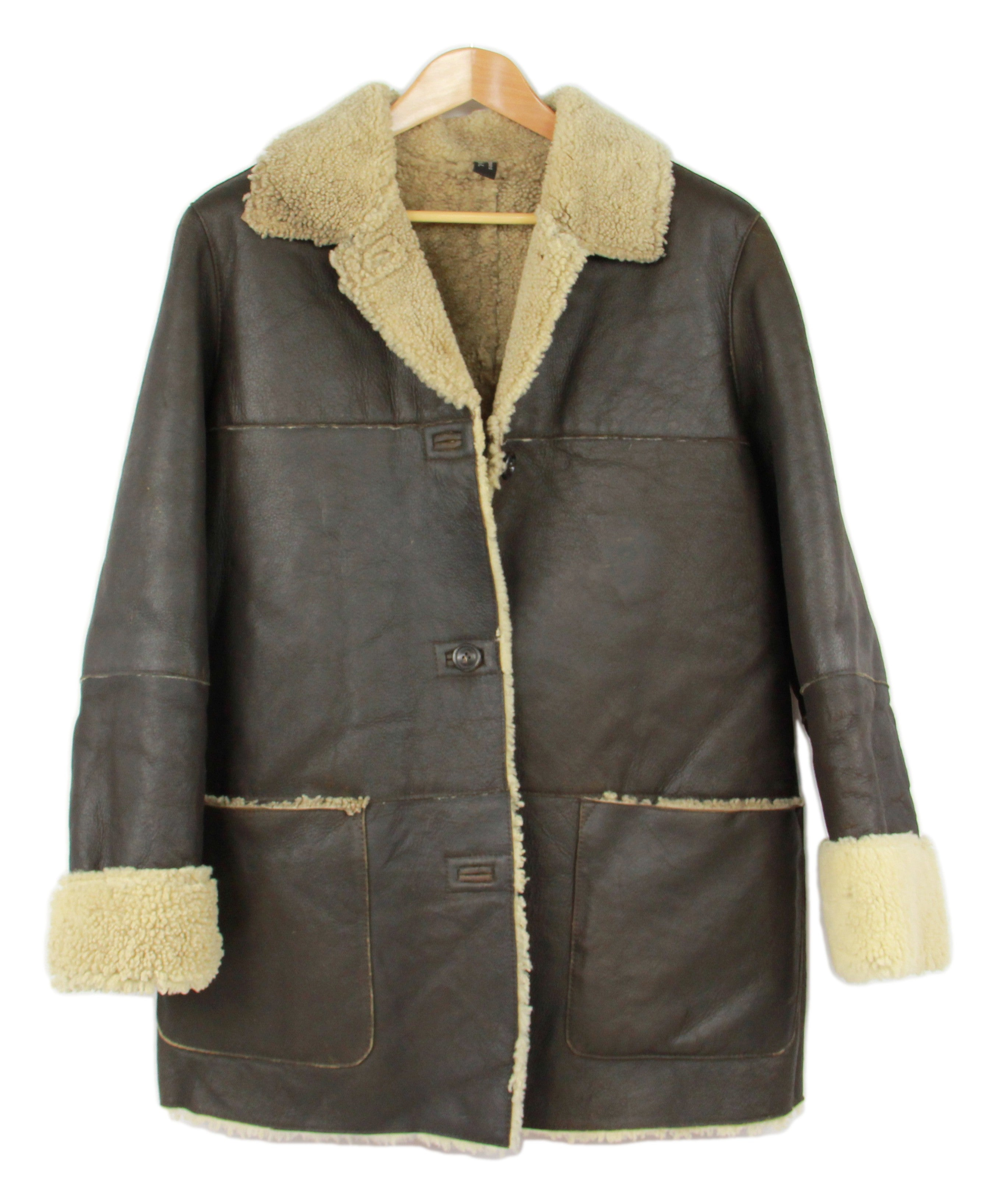 Women's Brown Lambskin Leather Shearling Coat With Raw Edges, SIZE L