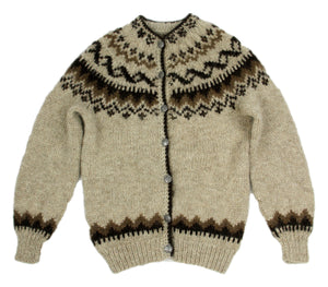 Traditional Icelandic Wool Hand Knit Lopapeysa Cardigan, S - second_first