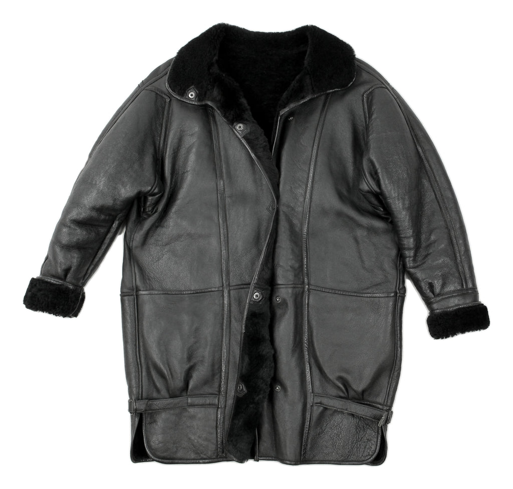 Women's Black Leather Shearling Sheepskin Cocoon Coat, L