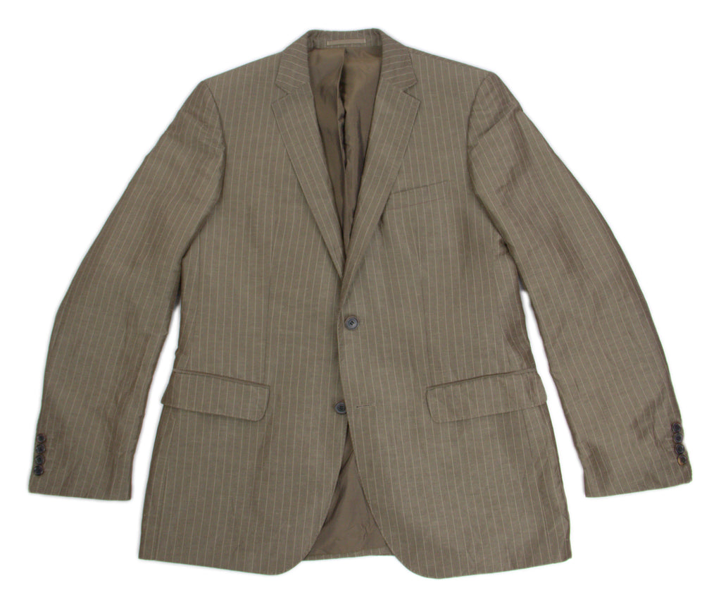 HUGO BOSS Linen & Silk Striped Summer Blazer, US 40R, EU 50 - secondfirst